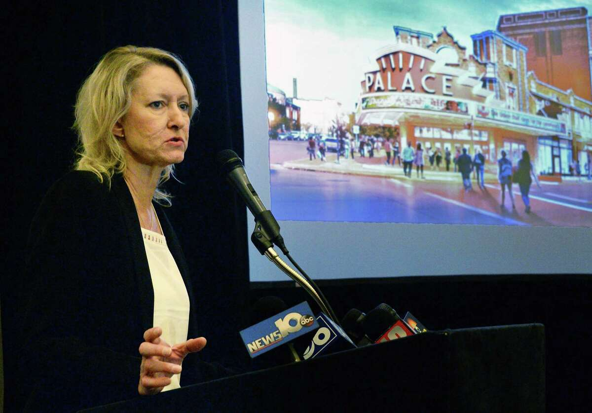 Holly Brown, executive director of the Palace Theatre, announces their vision for a $65 million renovation and expansion during a news conference Wednesday July 13, 2016 in Albany, NY. (John Carl D'Annibale / Times Union)