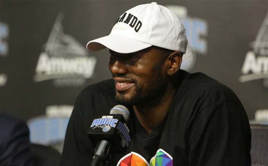 The Orlando Magic's Serge Ibaka speaks during a news conference Thursday, June 30, 2016, in Orlando, Fla. The Magic landed the veteran Ibaka in a trade with Oklahoma City that sent Victor Oladipo, Ersan Ilaysova and the rights to Domantas Sabonis, who was taken 11th overall in the draft. (Charles King/Orlando Sentinel via AP) Photo: Charles King