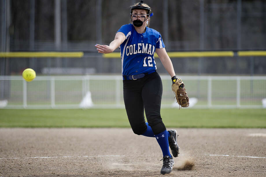 Coleman's Laken Berthume pitches during a game against Farwell earlier this season at Emerson Park. Photo: Erin Kirkland/Midland Daily News