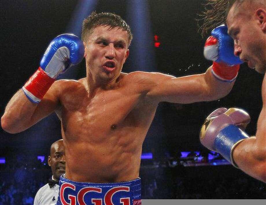 Gennady Golovkin, izquierda, pelea contra Davie Lemieux en Nueva York. Golovkin enfrentará a Kell Brook el 10 de septiembre en Londres. (AP Photo/Rich Schultz, File) Photo: Rich Schultz