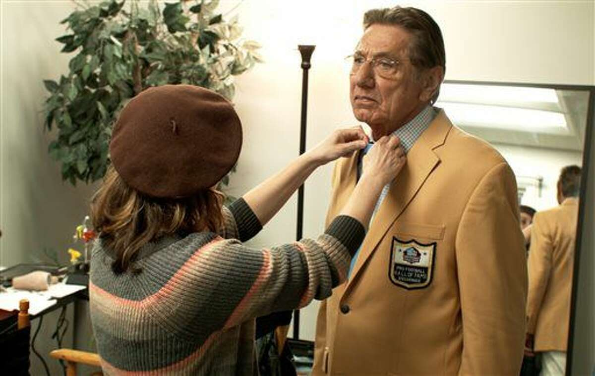 """In his undated image provide by the Pro Football Hall of Fame, Hall of Famer Joe Namath is prepared for filming """"A Game for Life"""" in Los Angeles. """"A Game for Life,"""" a cutting-edge, multi-sensory immersive theater including holographic representations of Hall of Fame legends Joe Namath, George Halas and Vince Lombardi, is set to open at the Pro Football Hall of Fame in mid-July. (Pro Football Hall of Fame via AP)"""