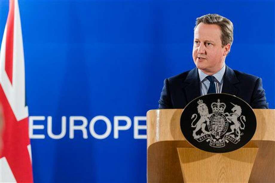 El primer ministro británico, David Cameron, responde a preguntas de los medios durante una cumbre de la Unión Europea en Bruselas, el 28 de junio de 2016. (AP Foto/Geert Vanden Wijngaert) Photo: Geert Vanden Wijngaert
