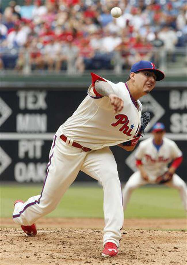 Philadelphia Phillies starting pitcher Vince Velasquez throws during the first inning of a baseball game against the Kansas City Royals, Sunday, July 3, 2016, in Philadelphia. (AP Photo/Tom Mihalek) Photo: Tom Mihalek