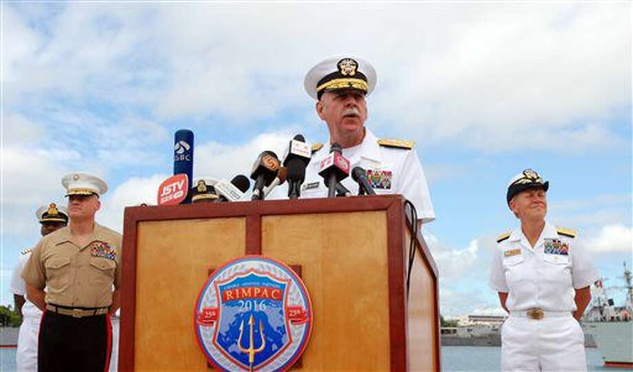 U.S. Pacific Fleet commander Adm. Scott Swift speaks at a news conference, Tuesday, July 5, 2016 in Pearl Harbor, Hawaii, at the start of the Rim of the Pacific military exercises. Swift says he wants all 26 nations participating in the drills to leave better prepared to respond to humanitarian crises and better understanding best practices for using maritime power. (AP Photo/Audrey McAvoy) Photo: Audrey McAvoy