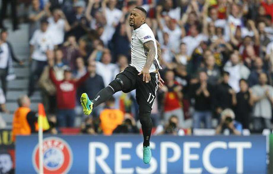 FILE - In this Sunday, June 26, 2016 file photo, Germany's Jerome Boateng celebrates after scoring his side's first goal during the Euro 2016 round of 16 soccer match between Germany and Slovakia, at the Pierre Mauroy stadium in Villeneuve d'Ascq, near Lille, France. Jerome Boateng has been a central figure in Germany's advance to the quarterfinals of the European Championship without conceding a goal, so it's a huge relief for his team that a calf injury won't keep him out of Saturday's quarterfinal against Italy. (AP Photo/Frank Augstein, File) Photo: Frank Augstein