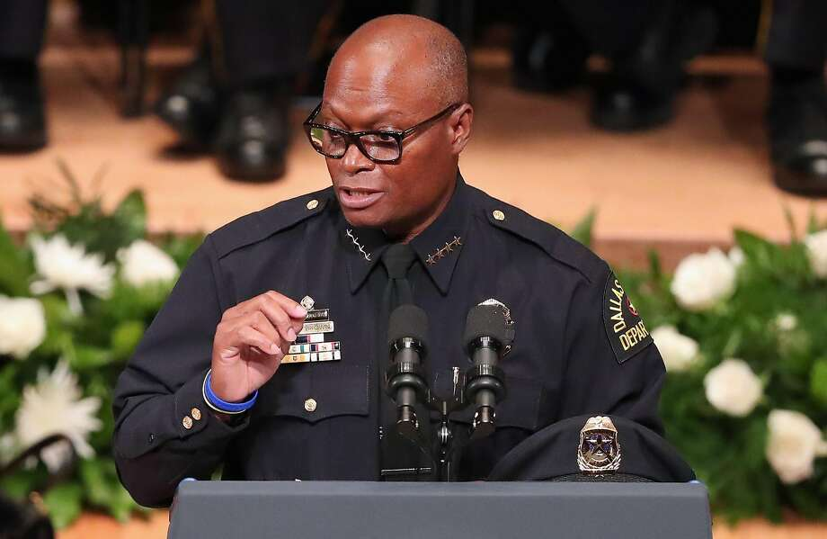DALLAS, TX - JULY 12:  Dallas Police Chief David O. Brown delivers remarks during an interfaith memorial service, honoring five slain police officers, at the Morton H. Meyerson Symphony Center on July 12, 2016 in Dallas, Texas. A sniper opend fire following a Black Lives Matter march in Dallas killing five police officers and injuring 12 others.  (Photo by Tom Pennington/Getty Images) Photo: Tom Pennington, Getty Images
