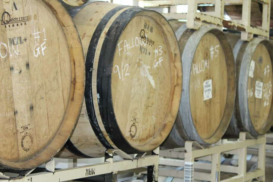 Some of the 32 barrels of beer inside Kent Falls Brewery's farmhouse based brew area. As of June 11 the public can visit the brewery and pick up some Kent Falls beer. Photo: Barry Lytton / New Milford Spectrum
