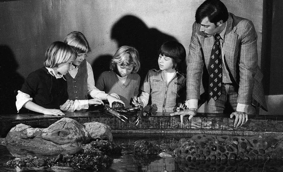 """John McCosker, then Steinhart Aquarium's superintendent, talks to children about a bay crab at the touch pool at the fish roundabout, which he called an """"infinite window,"""" when it opened on May 5, 1977. Photo: Vincent Maggiora, The Chronicle"""