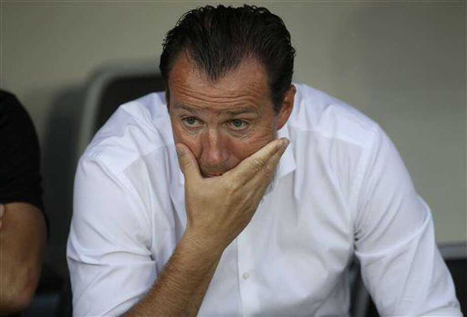 Belgium coach Marc Wilmots sits on the bench prior to the Euro 2016 round of 16 soccer match between Hungary and Belgium, at the Stadium municipal in Toulouse, France, Sunday, June 26, 2016. (AP Photo/Petr David Josek) Photo: Petr David Josek