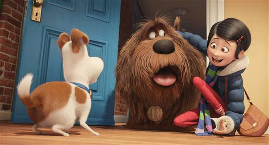 """In this image released by Universal Pictures, from left, characters Max, voiced by Louis C.K., Duke, voiced by Eric Stonestreet, and Katie, voiced by Ellie Kemper, appear in a scene from, """"The Secret Lives of Pets."""" (Illumination Entertainment and Universal Pictures via AP) Photo: Uncredited"""