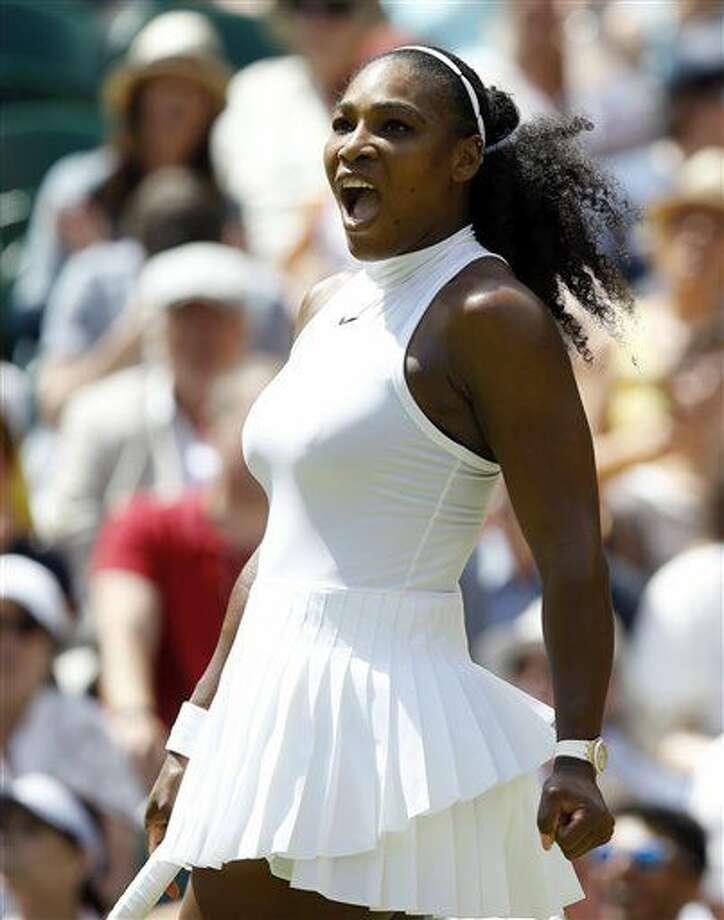 Serena Williams festeja un punto contra Elena Vesnina en las semifinales de Wimbledon el jueves, 7 de julio de 2016, en Londres. (AP Photo/Kirsty Wigglesworth) Photo: Kirsty Wigglesworth