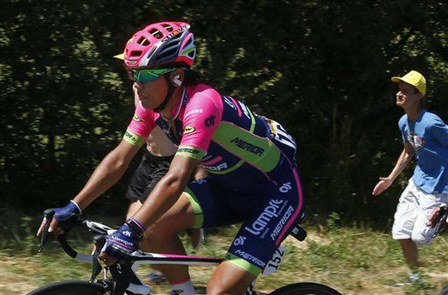Japan's Yukiya Arashiro leads the breakaway during the sixth stage of the Tour de France cycling race over 190.5 kilometers (118.1 miles) with start in Arpajon-sur-Cere and finish in Montauban, France, Thursday, July 7, 2016. (AP Photo/Peter Dejong) Photo: Peter Dejong