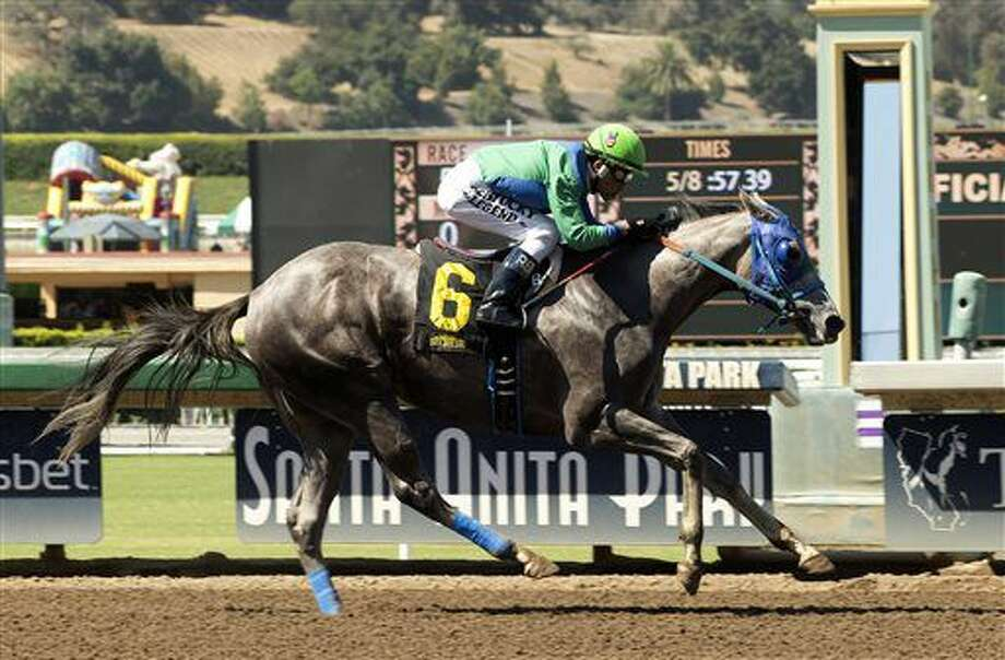 In this image provided by Benoit Photo, Theonewewaitedfor, with Rafael Bejarano aboard, wins the $125,000 Landaluce Stakes horse race Saturday, July 9, 2016, at Santa Anita Park in Arcadia Calif. (Benoit Photo via AP) Photo: HONS