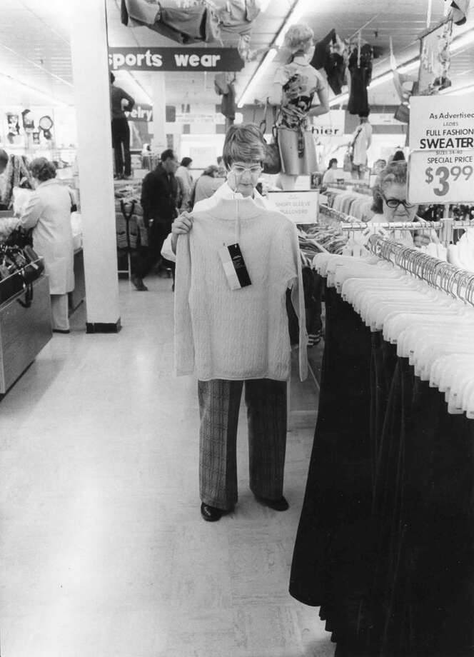 Mrs. Robert Johnson was one of the many early customers at the 1975 grand opening of Tradeway store. Photo: Midland Daily News File Photo, Please Credit