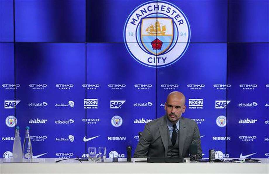 Manchester City manager Pep Guardiola during a press conference at the City Football Academy in Manchester, England, Friday July 8, 2016. Guardiola faces the media for the first time Friday since being named Manchester City manager, ahead of the new English Premier League soccer season. (Peter Byrne / PA via AP) Photo: Peter Byrne