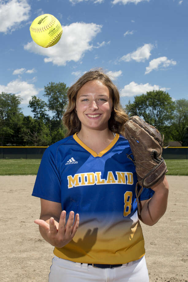 The Midland Daily News pitcher of the year is Midland High's Maya Kipfmiller. Photo: Brittney Lohmiller | Midland Daily News