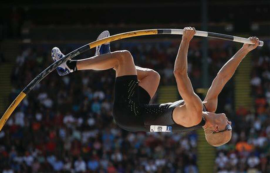 Sam Kendricks competes during the men's pole vault event at the U.S. Olympic Track and Field Trials, Monday, July 4, 2016, in Eugene Ore. (AP Photo/Matt Slocum) Photo: Matt Slocum