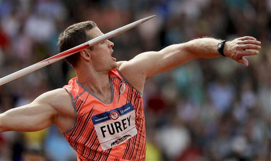 Sean Furey competes during the javelin throw final at the U.S. Olympic Track and Field Trials, Monday, July 4, 2016, in Eugene Ore. (AP Photo/Matt Slocum) Photo: Matt Slocum