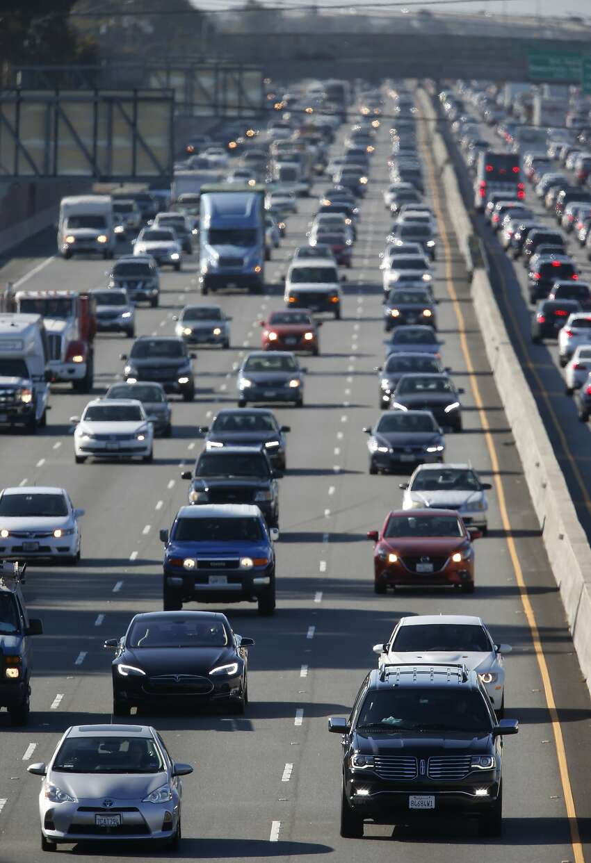 Northbound traffic is bumper to bumper on Highway 101 near Peninsula Avenue in San Mateo, Calif. on Wednesday, July 13, 2016. Regional transit officials have gathered the necessary funding to begin work on a express lane project on the Bayshore Freeway through San Mateo County.