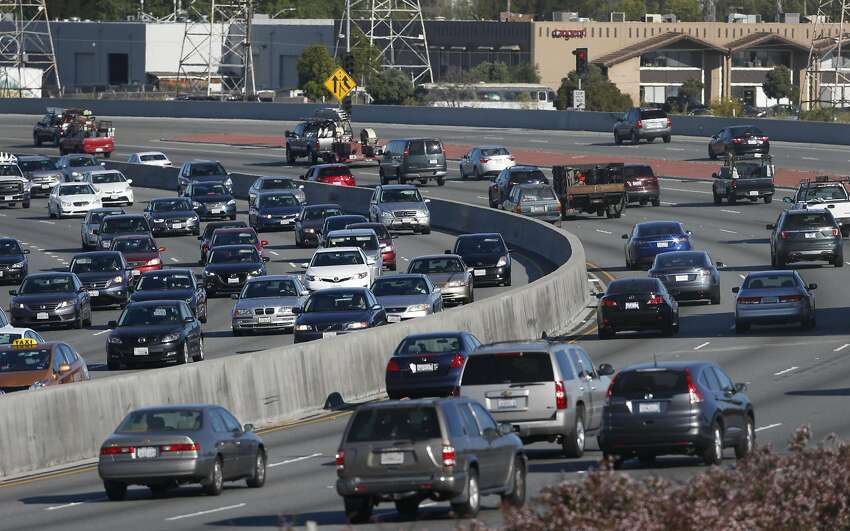 Morning commute traffic is backed up in both directions of Highway 101 near Peninsula Avenue in San Mateo, Calif. on Wednesday, July 13, 2016. Regional transit officials have gathered the necessary funding to begin work on a express lane project on the Bayshore Freeway through San Mateo County.