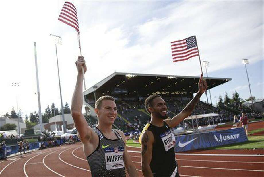 Clayton Murphy, left, winner, and Boris Berian, in second place, celebrate after men's 800-meter final at the U.S. Olympic Track and Field Trials, Monday, July 4, 2016, in Eugene Ore.(AP Photo/Marcio Jose Sanchez) Photo: Marcio Jose Sanchez