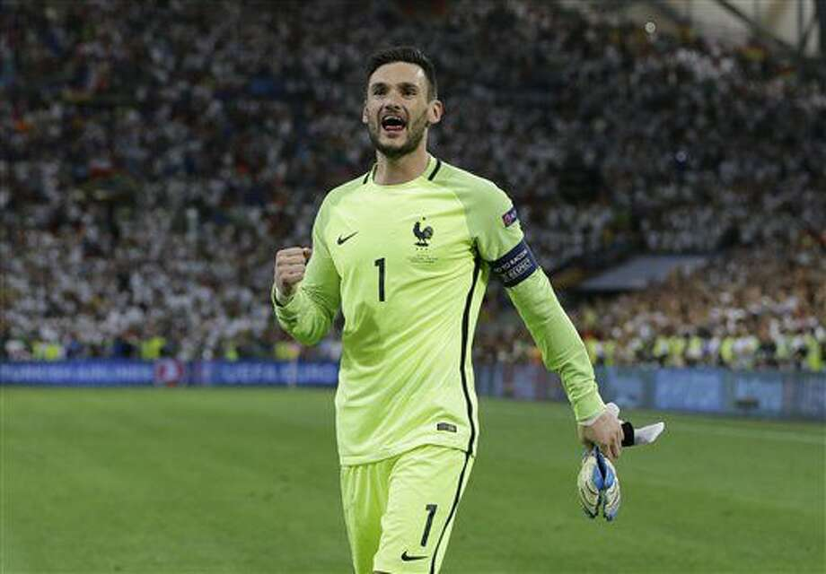France goalkeeper Hugo Lloris celebrates after the Euro 2016 semifinal soccer match between Germany and France, at the Velodrome stadium in Marseille, France, Thursday, July 7, 2016. (AP Photo/Thanassis Stavrakis) Photo: Thanassis Stavrakis