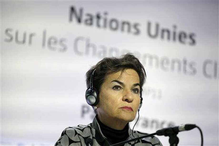 La costarricense Christiana Figueres durante una rueda de prensa en Francia el 28 de noviembre del 2015. El jueves el gobierno de Costa Rica anunció que la nomina al puesto de Secretaria General de la ONU. (Foto AP/Laurent Cipriani, archivo) Photo: Laurent Cipriani