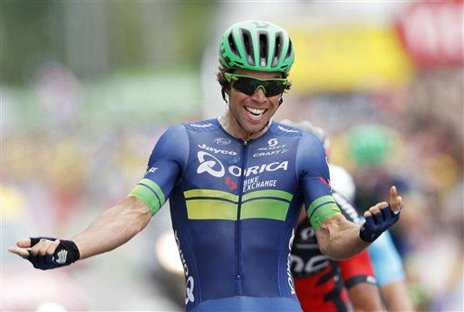 Australia's Michael Matthews celebrates as he crosses the finish line to win the tenth stage of the Tour de France cycling race over 197 kilometers (122.4 miles) with start in Escaldes-Engordany, Andorra, and finish in Revel, France, Tuesday, July 12, 2016. (AP Photo/Christophe Ena) Photo: Christophe Ena