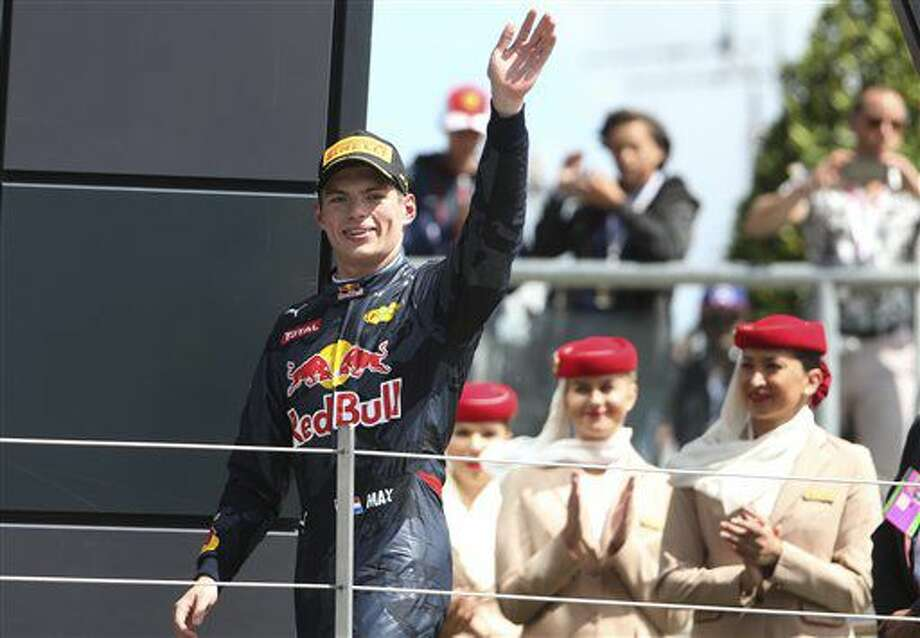 Red Bull driver Max Verstappen, third place, celebrates on the podium after the British Formula One Grand Prix at the Silverstone racetrack, Silverstone, England, Sunday, July 10, 2016. (AP Photo/Luca Bruno) Photo: Luca Bruno