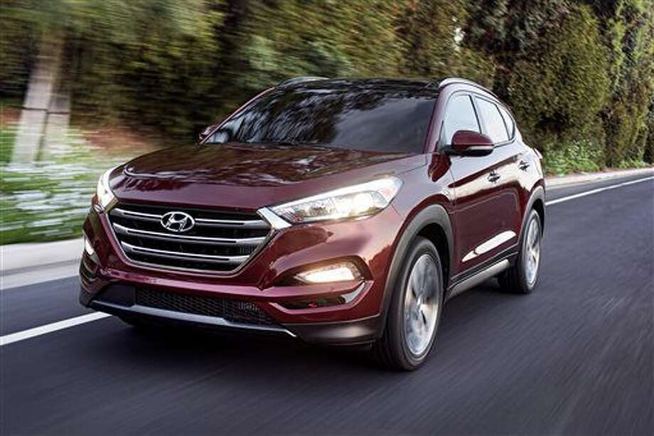 FILE - This photo provided by Hyundai Motor America shows the 2016 Hyundai Tucson. Small SUVs did poorly in new headlight tests performed by the insurance industry. The Insurance Institute for Highway Safety says none of the 21 small SUVs tested earned its highest ranking. The Ford Escape, Honda CR-V, Hyundai Tucson and Mazda CX-3 performed best, but more than half the SUVs tested received the lowest ranking, including the Subaru Forester and the Audi Q3.(Morgan Segal/Hyundai Motor America via AP) Photo: Morgan Segal