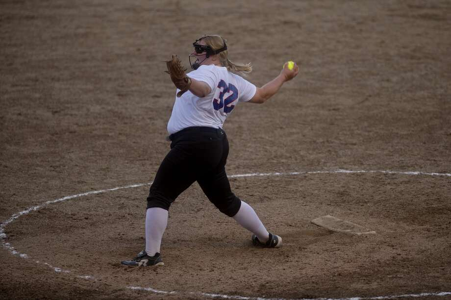 Lady Explorers' pitcher MacKenzie Norton winds up in the second inning of the opening game against Line Drive Express during the Line Drive Grand Slam tournament on Friday at Emerson Park. Photo: Brittney Lohmiller/Midland Daily News