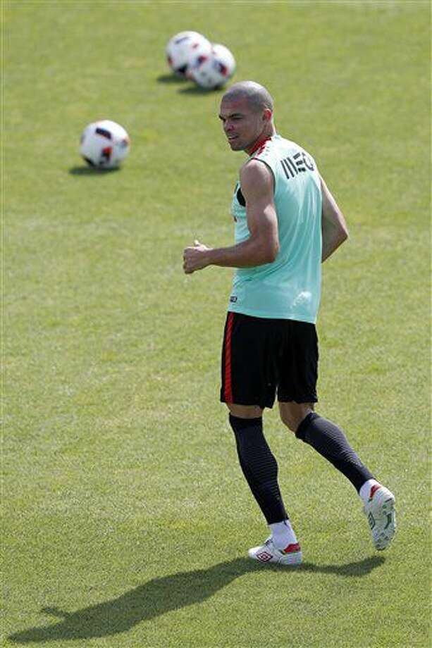 Portugal's Pepe attends a training session, in preparation of the Euro 2016 final soccer match between France and Portugal, at Marcoussis, south of Paris, France, Friday, July 8, 2016. (AP Photo/Francois Mori) Photo: Francois Mori