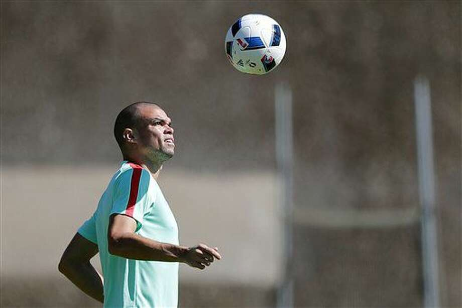 Portugal's Pepe attends a training session, on the eve of the Euro 2016 final soccer match between France and Portugal, at Marcoussis, south of Paris, France, Saturday, July 9, 2016. (AP Photo/Francois Mori) Photo: Francois Mori