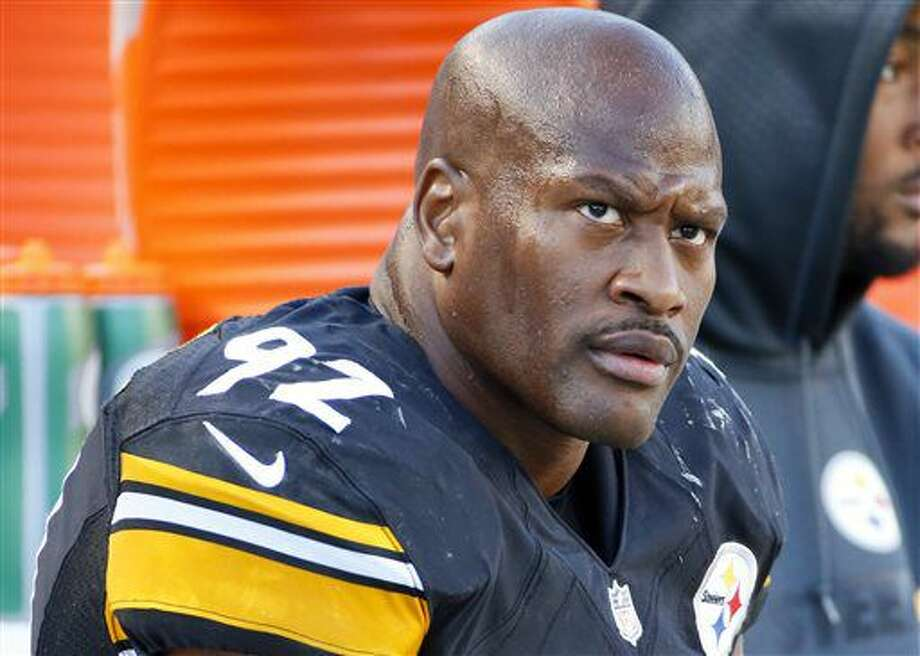 "FILE - In this Nov. 8, 2015, file photo, Pittsburgh Steelers outside linebacker James Harrison (92) sits on the sidelines during an NFL football game against the Oakland Raiders in Pittsburgh. Harrison said in an affidavit sent to the NFL that he never met nor communicated with the source of a media report that linked him and other players to the use of performance-enhancing drugs. Harrison has insisted that league officials have to provide ""credible evidence"" before he agrees to an interview. The NFL Players Association sent a letter on his behalf along with the signed affidavit to NFL executive Adolpho Birch on Monday, July 11, 2016. (AP Photo/Gene J. Puskar, File) Photo: Gene J. Puskar"