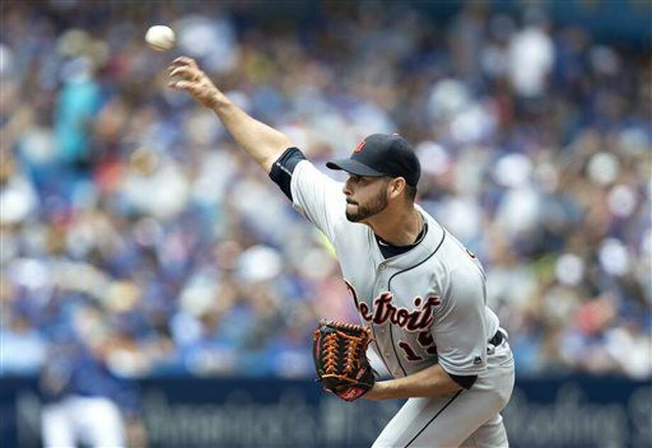 Detroit Tigers starting pitcher Anibal Sanchez throws against the Toronto Blue Jays during first inning American League MLB baseball action in Toronto on Sunday, July 10, 2016. (Fred Thornhill/The Canadian Press via AP) Photo: Fred Thornhill