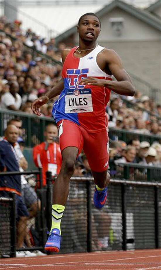 Noah Lyles finishes his heat during men's 200-meter run at the U.S. Olympic Track and Field Trials, Thursday, July 7, 2016, in Eugene Ore. (AP Photo/Marcio Jose Sanchez) Photo: Marcio Jose Sanchez