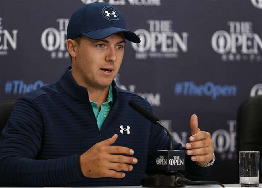Jordan Spieth of the US speaks during a press conference ahead of the British Open Golf Championship at the Royal Troon Golf Club in Troon, Scotland, Tuesday, July 12, 2016. (AP Photo/Ben Curtis) Photo: Ben Curtis