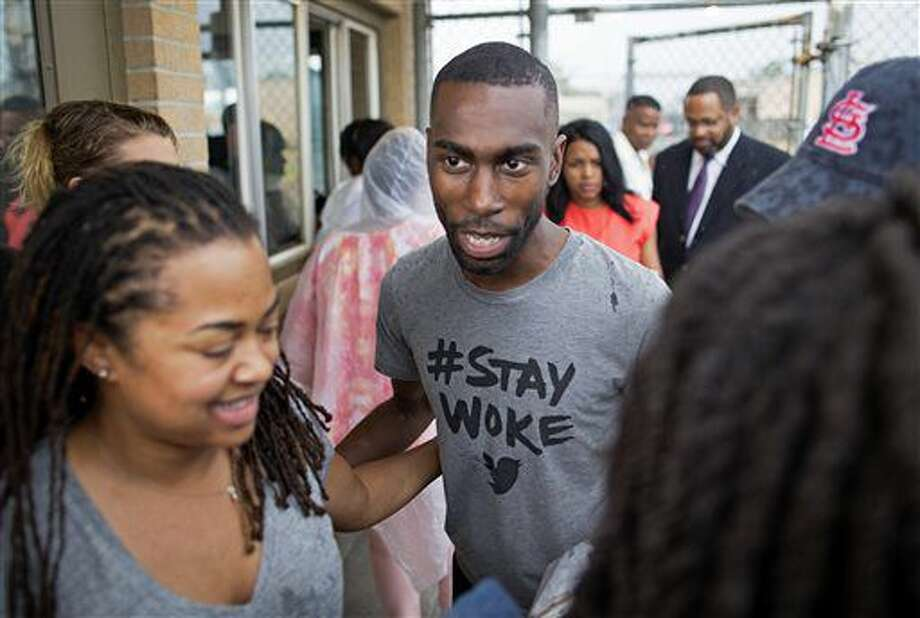 Black Lives Matter activist DeRay McKesson walks out of the Baton Rouge jail in Baton Rouge, La. on Sunday, July 10, 2016. The prominent Black Lives Matter activist, three journalists and more than 120 other people have been taken into custody in Louisiana over the past two days, authorities said Sunday, after protests over the fatal shooting of an African-American man by two white police officers in Baton Rouge. (AP Photo/Max Becherer) Photo: Max Becherer