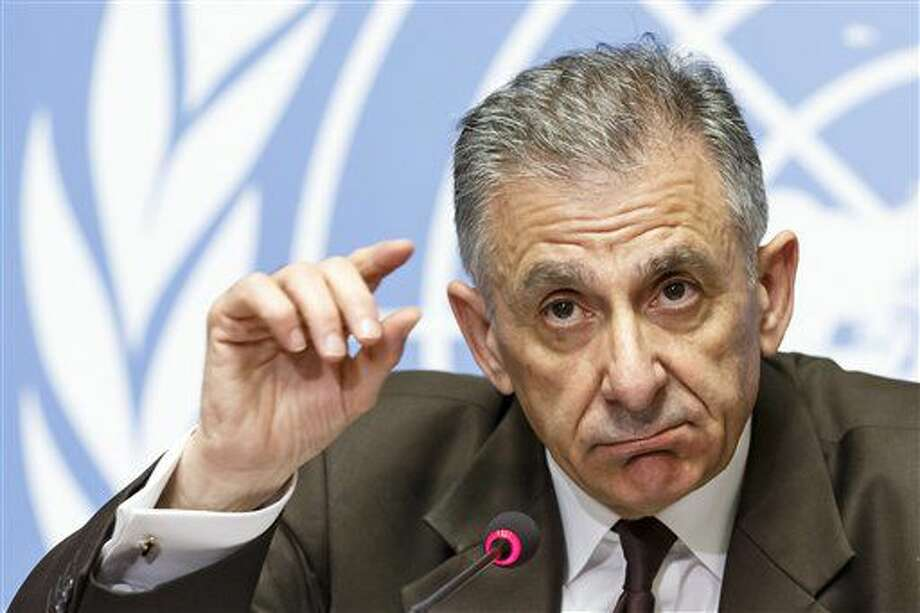 Executive Director of the Counter-Terrorism Executive Directorate, CTED, Jean-Paul Laborde of France speaks at a news conference about counter-terrorism efforts of the United Nations at their European headquarters in Geneva, Switzerland, Tuesday, July 5, 2016. (Salvatore Di Nolfi/Keystone via AP) Photo: Salvatore Di Nolfi