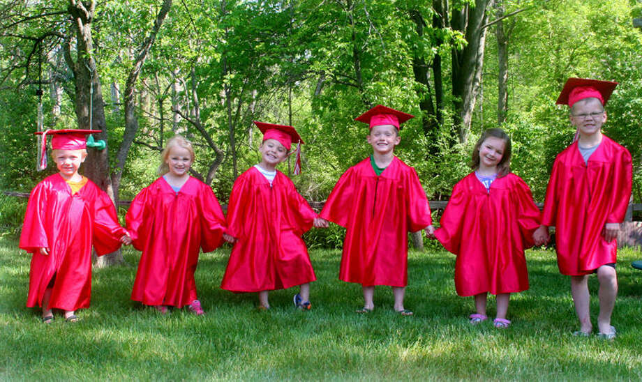 The final graduating class of Apple Tree Preschool consisted of Lucas Sampson, Liv Smith, Ean Bjork, Brady Williams, Claire Provoast and Gage Williams. Photo: Picasa
