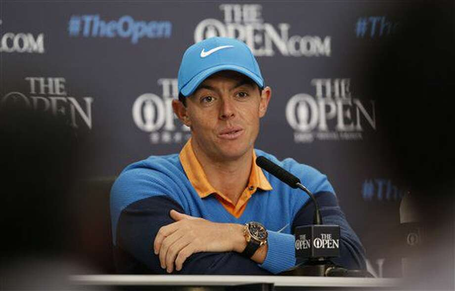 Rory McIlroy of Northern Ireland speaks at a press conference for the British Open Golf Championships at the Royal Troon Golf Club in Troon, Scotland, Tuesday, July 12, 2016. (AP Photo/Alastair Grant) Photo: Alastair Grant