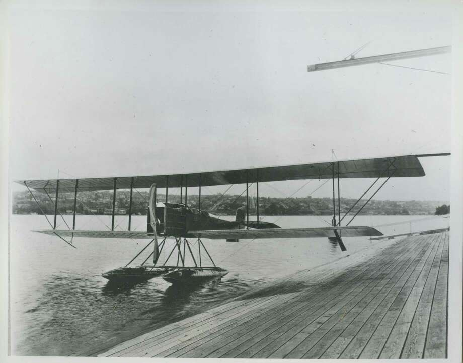 "Original caption: ""The first Boeing plane, known as the B and W, a seaplane trainer of 'stick and wire' construction built in 1916. It was equipped with a 125-horsepower Hall-Scott motor, weighed 2,600 pounds, and had a cruising speed of about 60 mph. Photo taken on Lake Union, no date."" Photo: Courtesy MOHAI / 2016 MOHAI"