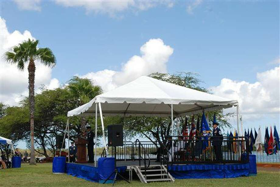 Gen. Terrence O'Shaughnessy speaks at his assumption of command ceremony at Joint Base Pearl Harbor-Hickam on Tuesday, July 12, 2016. O'Shaughnessy assumed command of Pacific Air Forces during a ceremony Tuesday. (AP Photo/Audrey McAvoy) Photo: Audrey McAvoy