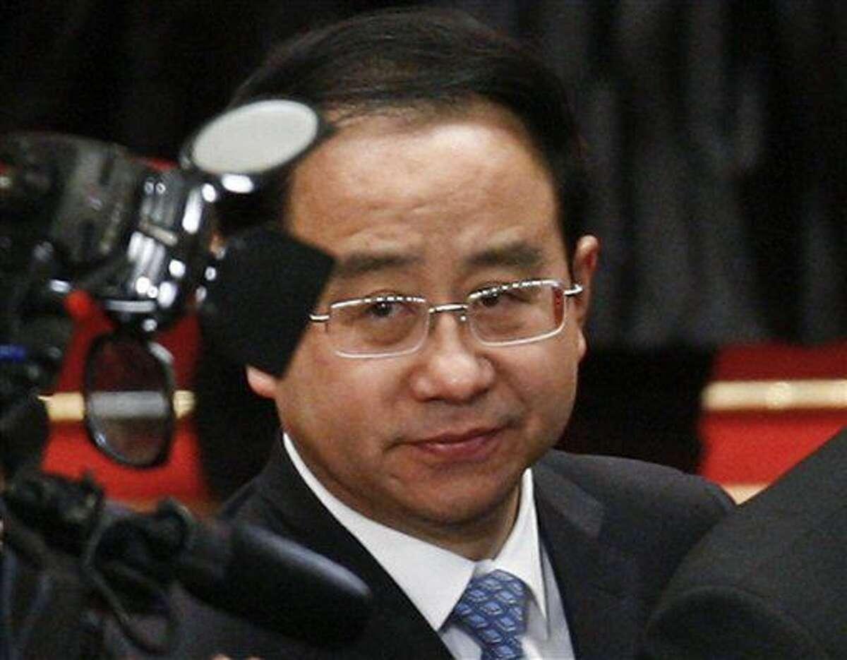 Fotografía de archivo del 14 de marzo de 2012 de Ling Jihua, un asistente del presidente Hu Jintao, durante la clausura del Congreso Nacional del Pueblo en Beijing. (AP Foto/Andy Wong, Archivo)