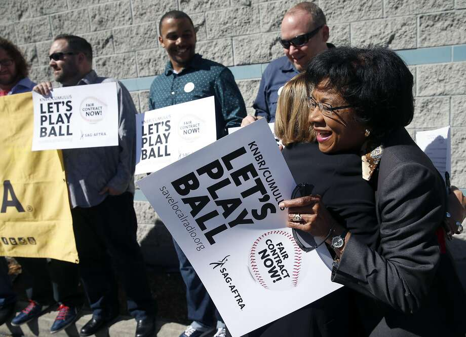 Pioneering broadcaster Belva Davis (right) joined the picket line in S.F. to support KNBR radio staffers' push for a wage increase. Photo: Paul Chinn, The Chronicle