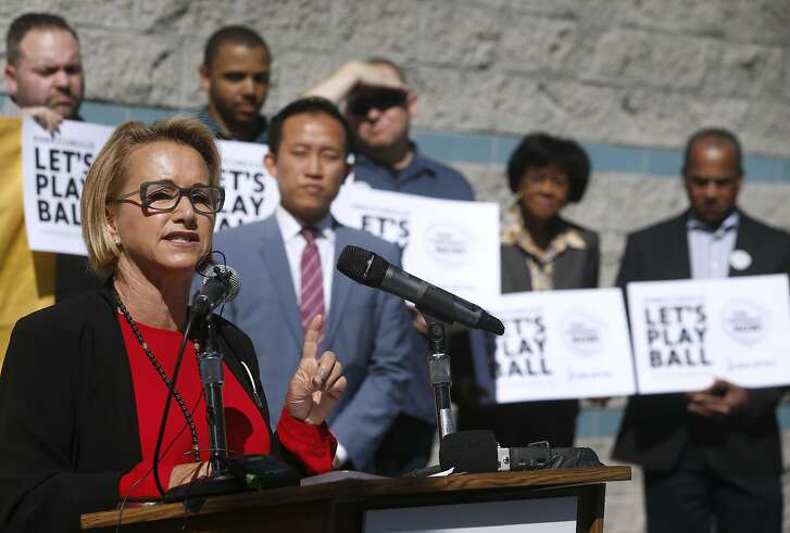 Gabrielle Carteris, national president of SAG-AFTRA, speaks during a news conference in San Francisco, Calif. on Wednesday, July 13, 2016. Employees at KNBR are upset at the slow pace of contract negotiations with parent company Cumulus Media.
