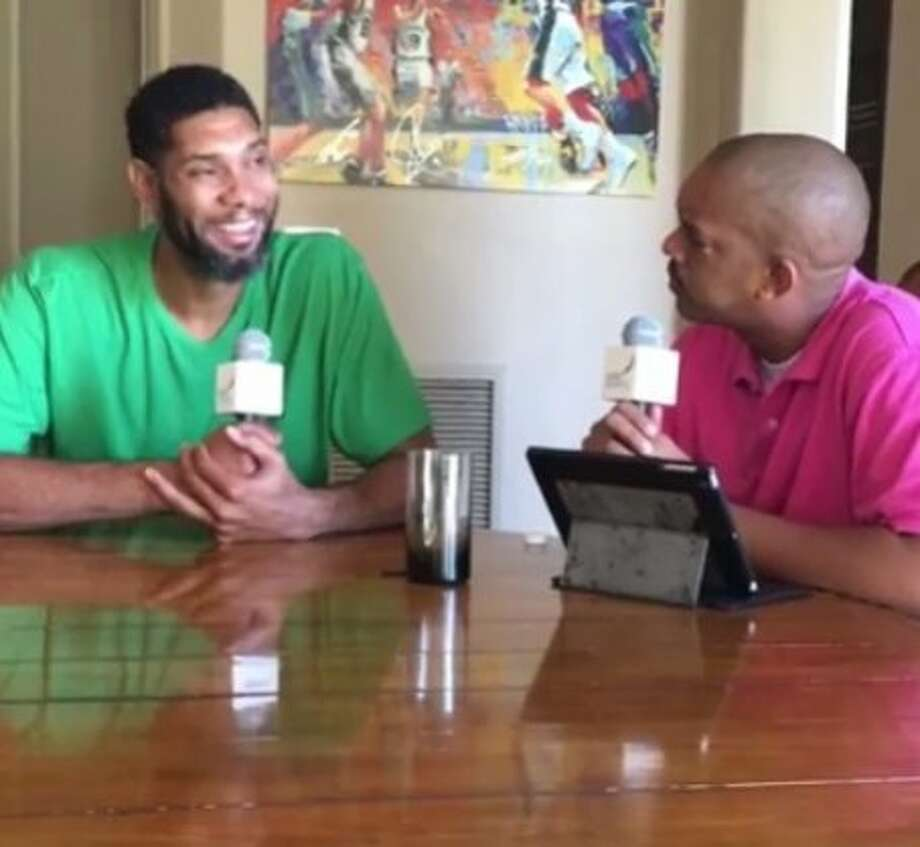 Tim Duncan (left) spoke with Rashidi Clenance, a friend from the Virgin Islands, about his retirement. Photo: ViVid Streaming/Facebook