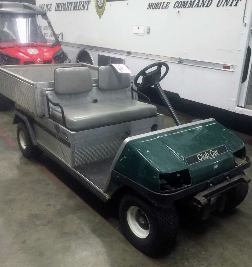 Police recovered this maintenance cart stolen last week from the Par 3 golf course on Old Dam Road. Fairfield, CT. July 11, 2016. Photo: Contributed Photo / Hearst Connecticut Media / Fairfield Citizen contributed