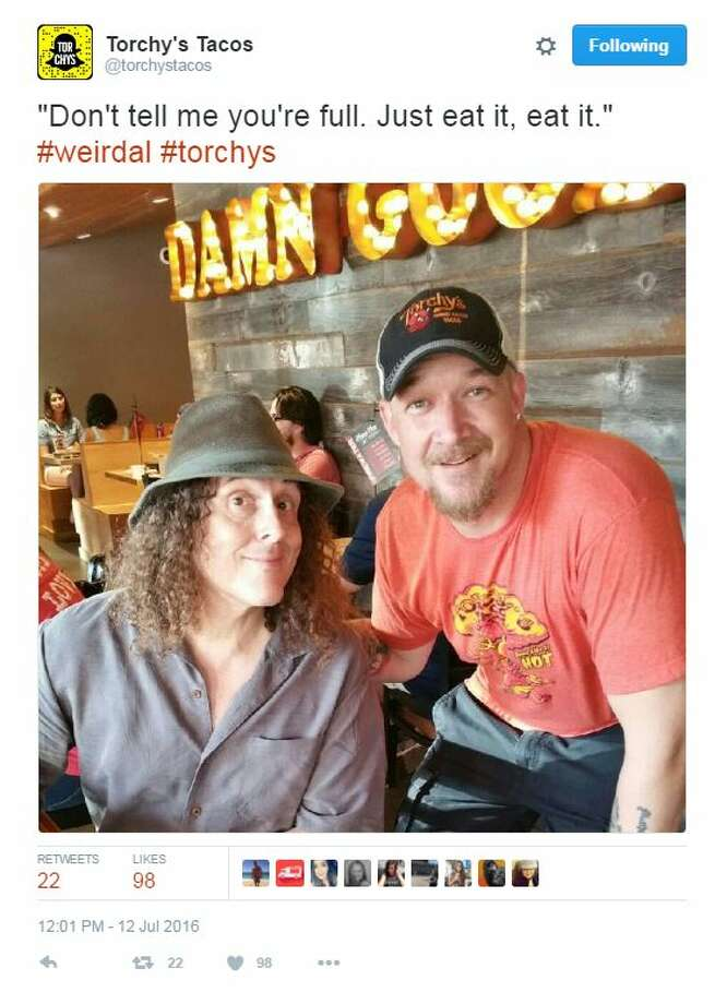 """Weird Al"" Yankovic stopped by the Torchy's Tacos on Guadalupe Street in Austin on July 12, 2016."