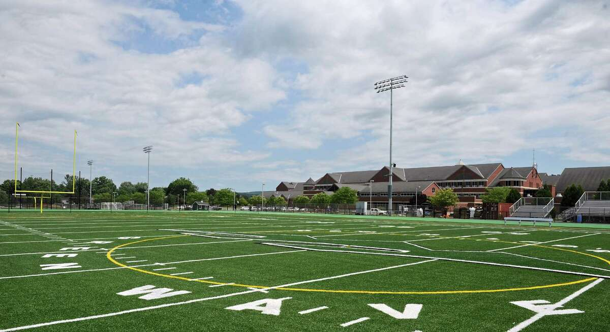 New Milford High School's athletic field complex is nearing completion and will have it's grand opening next week. Wednesday, July 13, 2016, in New Milford, Conn.